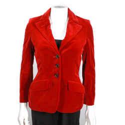 Alexander Mcqueen - Velvet Vintage Red Blazer Jacket Coat -  Us 0 - 38