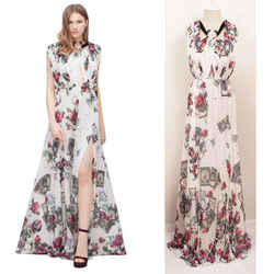 38 NEW $3900 ROBERTO CAVALLI RUNWAY White MYSTIC GARDEN Tarot FLORAL Dress GOWN