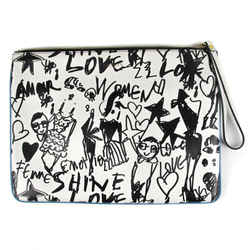 Lanvan - New Graffiti Clutch Folder Bag - Black White Leather - Zip Top