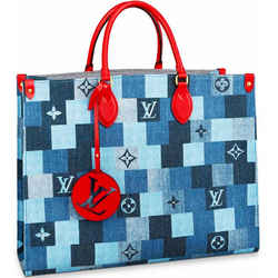 Louis Vuitton OntheGo Monogram Damier Denim & Red Leather Tote