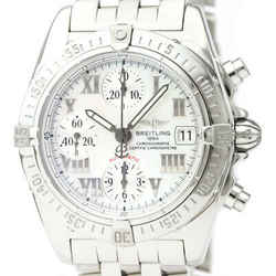 Polished BREITLING Chrono Cockpit MOP Dial Automatic Mens Watch A13358 BF529365