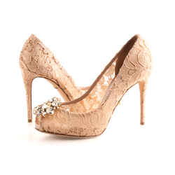 Dolce and Gabbana Lace Peep Toe Crystal Embellished Pumps