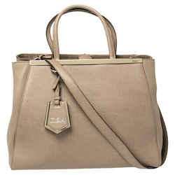 Fendi Dark Beige Leather Medium 2Jours Tote