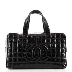 Chocolate Bar CC Bowler Bag Quilted Patent Large