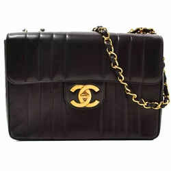 Auth Chanel Mademoiselle Deca Matrasse Lambskin Chain Shoulder Bag Leather