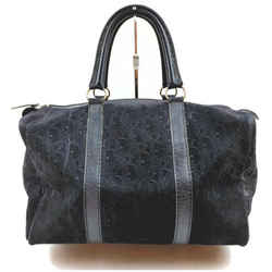 Christian Dior Black Embossed Suede Monogram Trotter Boston Bag  862031
