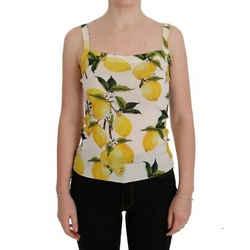 Dolce & Gabbana White Cashmere Silk Lemon Tank Women's Top