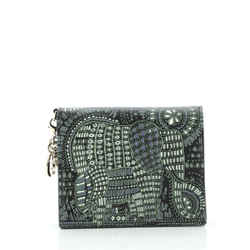 Lady Dior Flap Wallet Printed Leather Mini