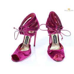 Tom Ford Magenta Pink Velvet High Heel Ankle Strap Sandals