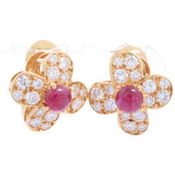 Van Cleef & Arpels Ruby Diamond 18k Yellow Gold Trefle Earrings Alhambra 860711