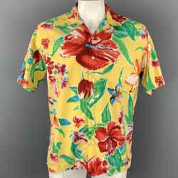 POLO by RALPH LAUREN Size L Yellow Print Silk / Cotton Camp Short Sleeve Shirt