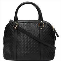 GUCCI  Dome Medium Microguccissima Leather Shoulder Bag Black 449663