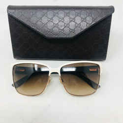 Gucci Ivory Metal Brown Lens Sunglasses W/ Case 2198-1-3520