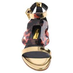 Rupert Sanderson Gold/Brown Maiva Sandals Size: US 7