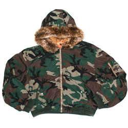 Yeezy - New - Fur Camo Jacket Season 5 Bomber Green Hood Coat Men's US Large L