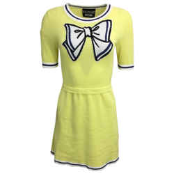 Boutique Moschino Yellow Cotton Knit Cocktail Dress