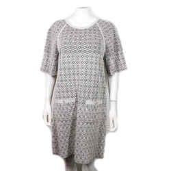 Chanel - Metallic Dress 2 Cc Pocket Silk Blend Grey Short Sleeve - Us 12 - 44