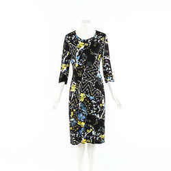 Erdem Dress Black Multicolor Floral Stretch Knit SZ 16 UK