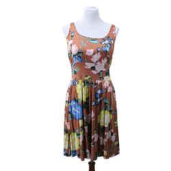 Missoni Brown Multicolor Floral Print Silk Dress Sz 6