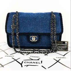 CHANEL 2.55 Wool Dark Blue Shoulder Handbag