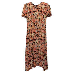 Prada Price Reduced Silk Floral Cocktail Dress Size: 2 (XS) Length: Long