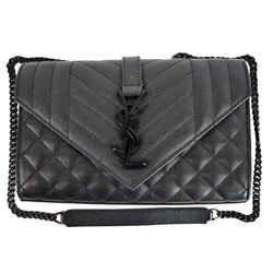 YVES SAINT LAURENT Small Envelope Matelasse Leather Shoulder Bag Black