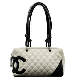 CHANEL  Cambon Ligne Quilted Leather Bowler Tote Bag White