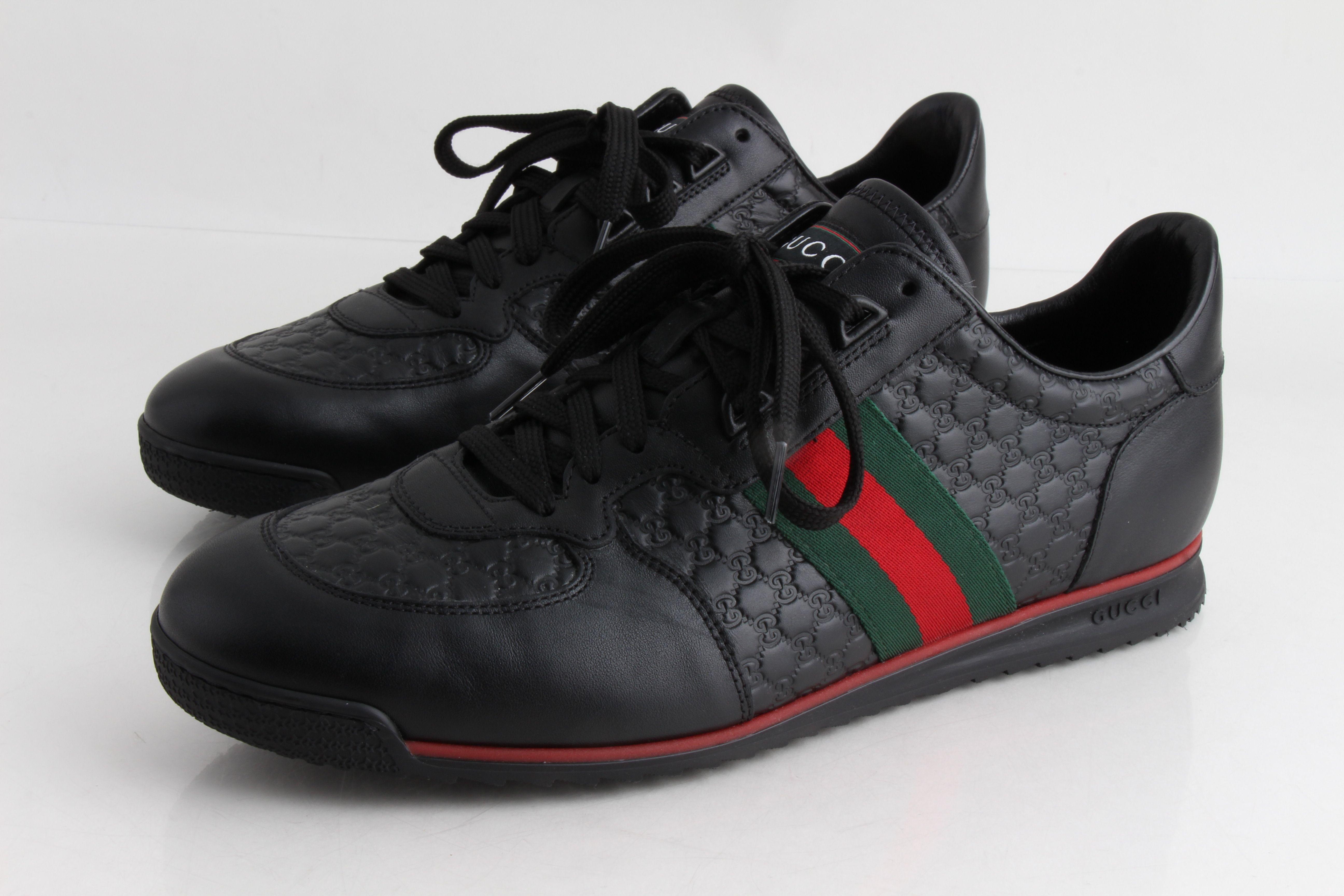 Black Guccisima Leather Sneaker | LePrix