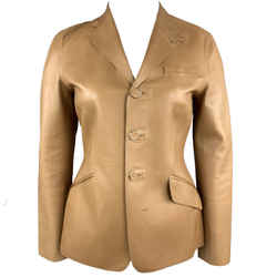 Ralph Lauren Size 10 Tan Calf Leather Blazer