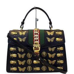 Gucci Sylvie Animal Studs Calfskin Medium Top Handle Bag Black