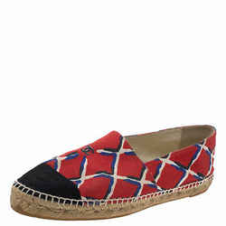 Chanel Red Canvas CC Cap Toe Espadrille Flats Size 41