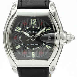 Polished CARTIER Roadstar Steel Leather Automatic Mens Watch W62002V3 BF514945