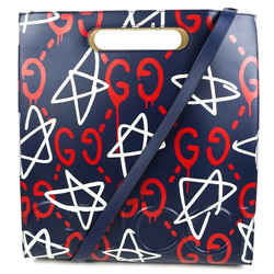 Gucci - New - Graffiti Ghost Shoulder Tote Bag Blue & Red Leather Large Star Gg