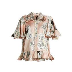 $920 Roksanda Rosler Floral Print Silk Georgette Blouse Top W/ruffles Sz 8