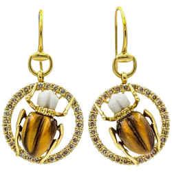 Gucci Scarab Dangle Earrings in 18k Yellow Gold with Diamonds Agate Tiger's Eye
