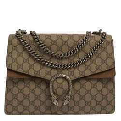 Gucci Beige/Brown GG Supreme Canvas and Suede Medium Dionysus Shoulder Bag