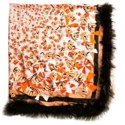 Fendi - Fur Xl Scarf Shawl - Wool And Silk - Silver Fox - Brown Pink Red Print -