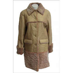 Chanel 40 8 Knee Coat Shearling Lambwool Cc Pearl Buttons Camel 2001 Vintage