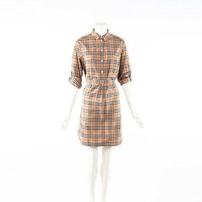 Burberry Shirt Dress Vintage Check Beige Cotton Belted SZ 42