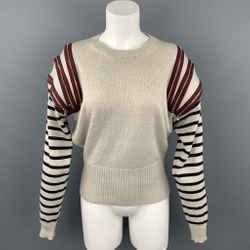 JEAN PAUL GAULTIER Size M Beige Virgin Wool Zipper Shoulder Sweater
