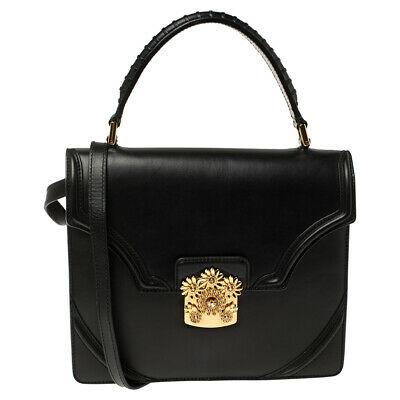 Alexander Mcqueen Alexander Mcqueen Black Leather Crystal Flower Clasp Top Handle Bag