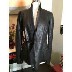 Rick Owens Size 10 Black Leather Silk Trim Jacket 2400-113-12519