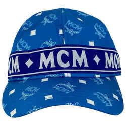Mcm Blue Monogram Visetos Log Baseball Cap Hat 2MCML1125