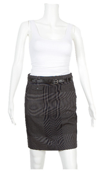 Theory Charcoal Grey And Black Plaid Skirt With Belt
