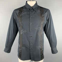 Just Cavalli Size L Black Embroidery Cotton Button Up Long Sleeve Shirt
