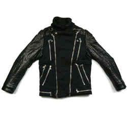 Balmain - Leather Jacket - Black Moto Biker Zip Fabric - Mens - Small - S