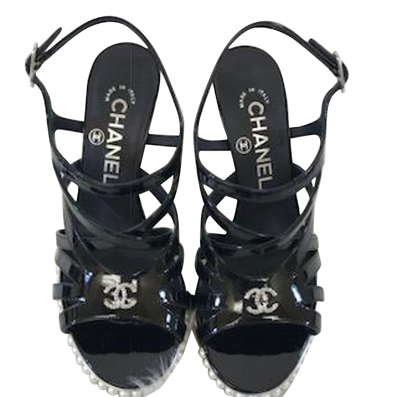 Chanel Patent Leather Strappy Wedge