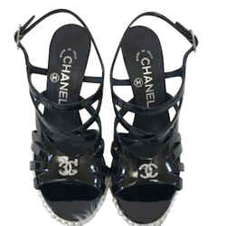 Chanel Patent Leather Strappy Wedge Sandals