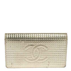 Chanel Gold Cubes Quilted Leather CC Flap Continental Wallet