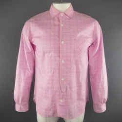 Junya Watanabe Size L Pink & Blue Window Pane Cotton Long Sleeve Shirt 2012